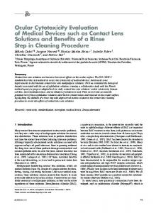 Ocular cytotoxicity evaluation of medical devices such as contact lens ...