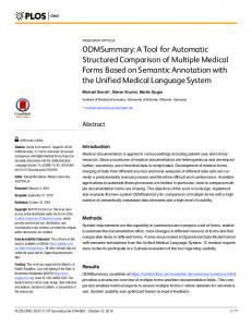 ODMSummary: A Tool for Automatic Structured Comparison of ... - PLOS