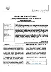 Oeuvre vs. Abstract Space: Appropriation of Gezi Park in Istanbul / journal of contemporary urban affairs (JCUA)