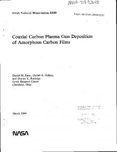 of Amorphous Carbon Films - NASA Technical Reports Server (NTRS)