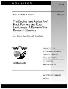 of Black Farmers and Rural Landowners - AgEcon Search
