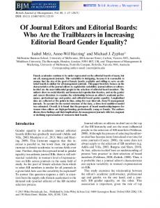 Of Journal Editors and Editorial Boards: Who ... - Wiley Online Library