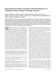 of Multiple Sclerosis Model Demyelination in a Nonhuman Primate ...