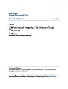 Of Persons and Property: The Politics of Legal ...