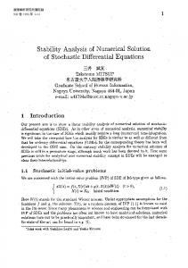 of Stochastic Differential Equations - RIMS, Kyoto University