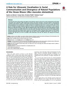 of the House Mouse (Mus musculus domesticus) - CiteSeerX