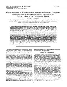 of the Mycobacterium avium Complex by Restriction Polymorphism of ...