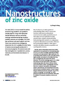 of zinc oxide - CiteSeerX