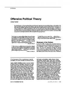 Offensive Political Theory - Department of Political Science