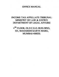 OFFICE MANUAL INCOME TAX APPELLATE TRIBUNAL MINISTRY ...
