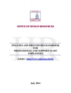 OFFICE OF HUMAN RESOURCES POLICIES AND PROCEDURES ...