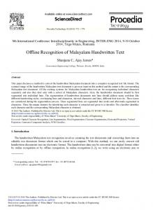 Offline Recognition of Malayalam Handwritten Text - ScienceDirect