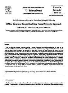 Offline Signature Recognition Using Neural Networks Approach