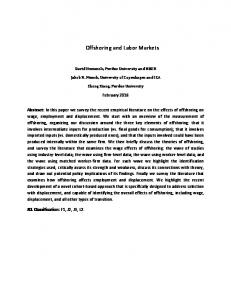 Offshoring and Labor Markets - Semantic Scholar