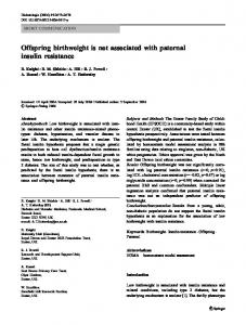 Offspring birthweight is not associated with paternal insulin resistance ...