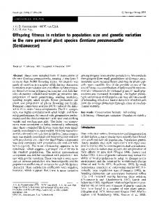 Offspring fitness in relation to population size and ... - Springer Link