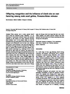 Offspring recognition and the influence of clutch size ... - Springer Link
