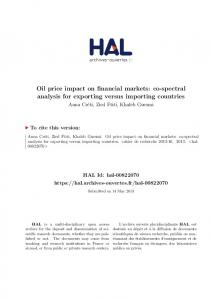 Oil price impact on financial markets: co-spectral analysis for ...