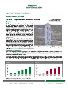 Oil Well Completion and Workover Services - Allegiance Capital ...