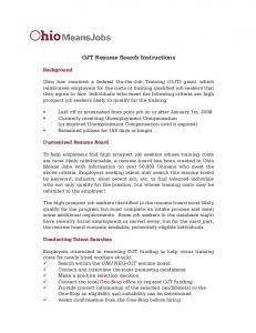 OJT Resume Search Instructions