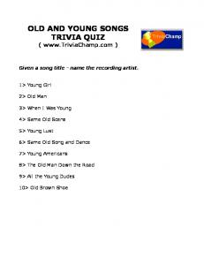 OLD AND YOUNG SONGS TRIVIA QUIZ - Trivia Champ