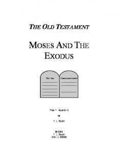 Old Testament Bible Class Curriculum - Moses And The Exodus