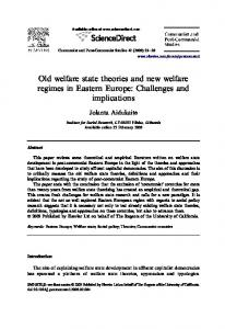 Old welfare state theories and new welfare regimes in Eastern Europe ...