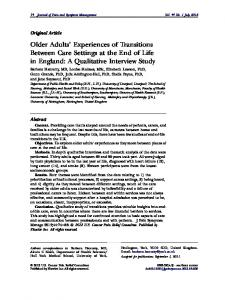 Older Adults' Experiences of Transitions Between Care Settings at the ...