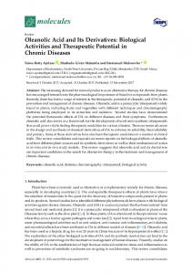 Oleanolic Acid and Its Derivatives: Biological Activities and ... - MDPI