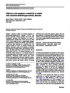 Olfactory and gustatory sensitivity in adults with attention-deficit ...