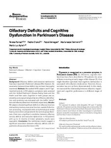Olfactory Deficits and Cognitive Dysfunction in