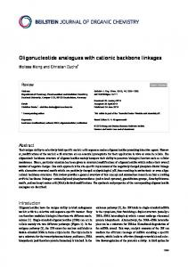 Oligonucleotide analogues with cationic backbone ... - Beilstein Journal