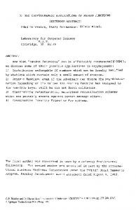 OM THE CRYPTOGRAPHIC APPLICATIONS OF RANDOM ...