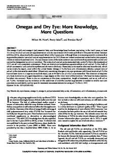 Omegas and Dry Eye: More Knowledge, More