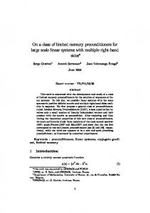 On a class of limited memory preconditioners for ... - Semantic Scholar