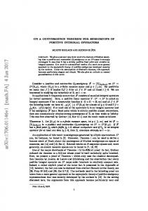 On a Convergence Theorem for Semigroups of Positive Integral ...