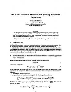 On a few Iterative Methods for Solving Nonlinear ... - Semantic Scholar