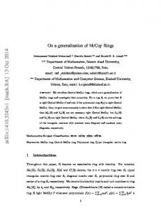 On a generalization of McCoy Rings