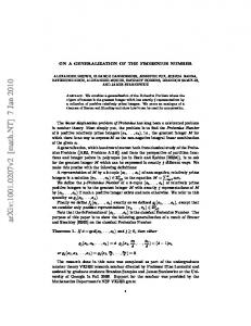 On a Generalization of the Frobenius Number