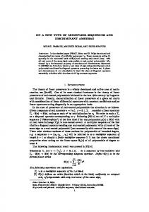 ON A NEW TYPE OF MULTIPLIER SEQUENCES ...