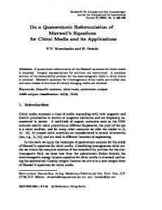 On a Quaternionic Reformulation of Maxwell's Equations for Chiral ...