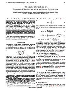 On a Ratio of Functions of Exponential Random Variables ... - CiteSeerX