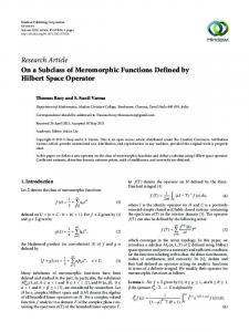 On a Subclass of Meromorphic Functions Defined by Hilbert Space ...