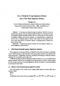 On a Threshold Group Signature Scheme and a Fair Blind Signature ...