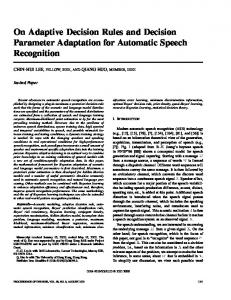 On adaptive decision rules and decision parameter ... - CiteSeerX