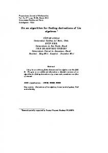 On an algorithm for finding derivations of Lie algebras - SciELO - Conicyt