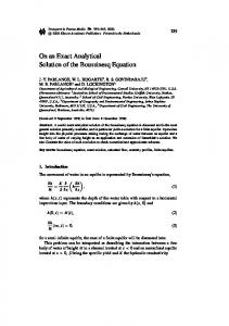 On an Exact Analytical Solution of the Boussinesq ... - Springer Link