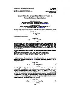 On an Extension of Condition Number Theory to Nonconic Convex ...