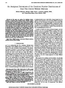 On Analytical Derivations of the Condition Number Distributions of ...
