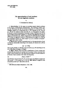 On approximation of real numbers by real algebraic ... - CiteSeerX